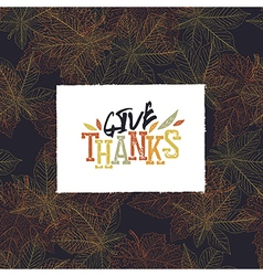 Give thanks postcard happy thanksgiving greeting vector