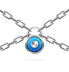Blue combination padlock and metal chain vector
