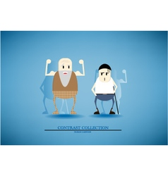 Contrast collection elder and adult cartoon vector