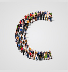 large group of people in letter c form vector image