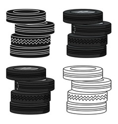 Barricade from tires icon in cartoon style vector