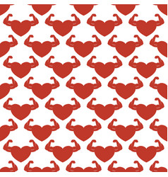 red strong hearts seamless pattern vector image