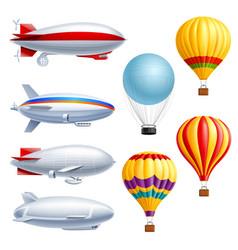 airship realistic icon set vector image