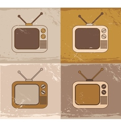 Retro tv set icons vector