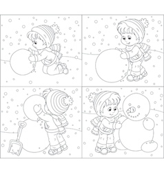 Child makes a snowman vector