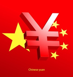 Yuan currency 3d symbol on a red background vector