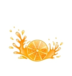 Slice of orange with splashing isolated on white vector