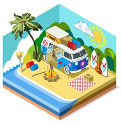 Beach Life Icon 3D Isometric vector image