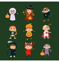Children in Halloween costumes vector image
