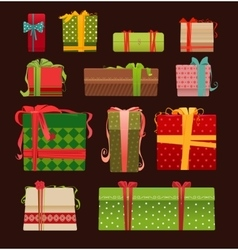 Set of christmas present boxes vector