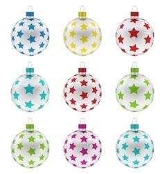Group christmas colorful glass balls vector