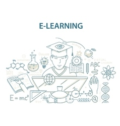 Doodle style design concept of e-learning and vector