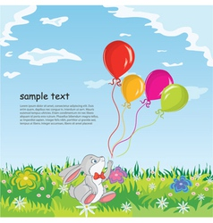 Rabbit with baloons vector