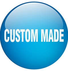 Custom made blue round gel isolated push button vector