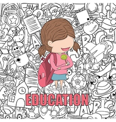Schoolgirl pupils back to school background vector