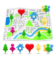 Abstract map with map markers vector image vector image