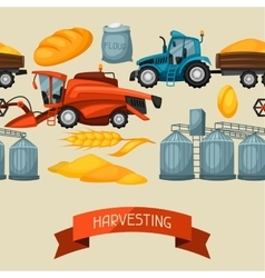 Agricultural seamless pattern with harvesting vector