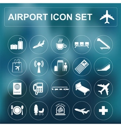 Airport air travel icon set vector image