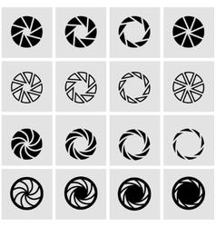 black camera shutter icon set vector image