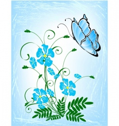 bouquet of blue flowers vector image vector image