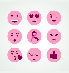 Breast cancer awareness pink emoji face icon set vector