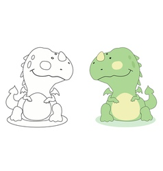 Cartoon dragon outline vector