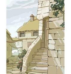 Cartoon street with old houses made of stone vector