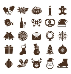 christmas silhouettes icons vector image vector image