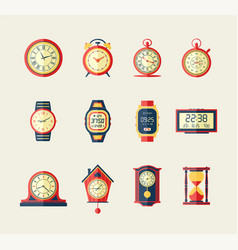 Clocks and watches - modern flat design vector