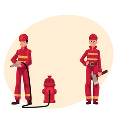 Firefighter fireman in red protective suit vector