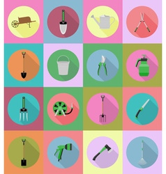 garden tools flat icons 19 vector image vector image