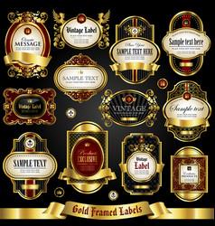 gold-framed colorful labels vector image