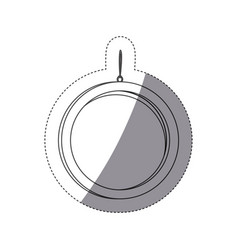 Grayscale contour sticker with circular frame vector