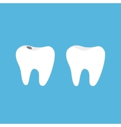 Healthy and bad ill tooth icon set with caries vector