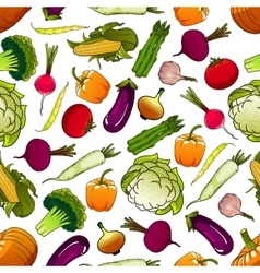 Healthy fresh seamless vegetables pattern vector image vector image