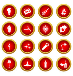 Light source symbols icon red circle set vector