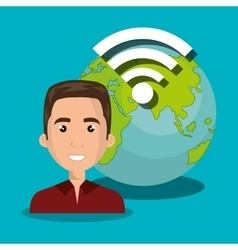 man wifi online isolated vector image