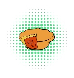 Meat pie icon in comics style vector