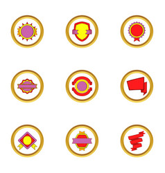 Modern badges icons set cartoon style vector