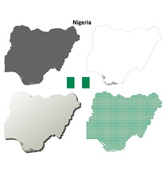 Nigeria outline map set vector image vector image