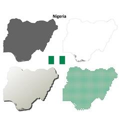 Nigeria outline map set vector image