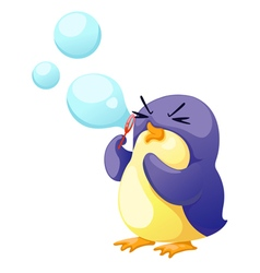 Penguin blowing bubbles vector