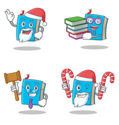 Set of blue book character with santa candy vector