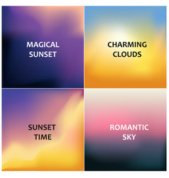 Set of four blurred backgrounds magical sunset vector