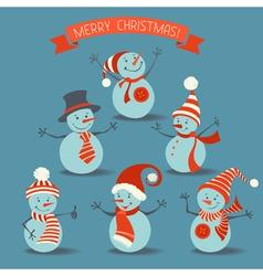Set of retro snowmen vector image