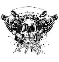 skull two pistols and crossed knifes vector image vector image