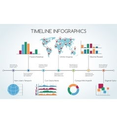 Timeline infographic with line charts vector