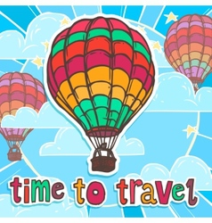 Travel poster with balloon vector image