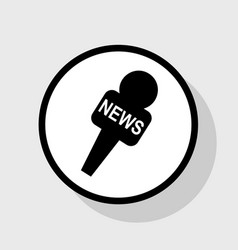 Tv news microphone sign flat vector