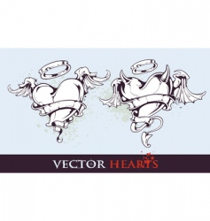 two tattoo styled hearts vector image